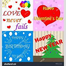Cards Happy Valentines Day Happy Birthday Stock Vector 493002880 Shutterstock