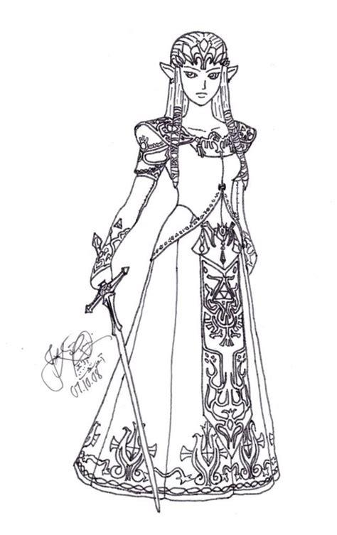 princess zelda coloring pages photo  lineart zelda