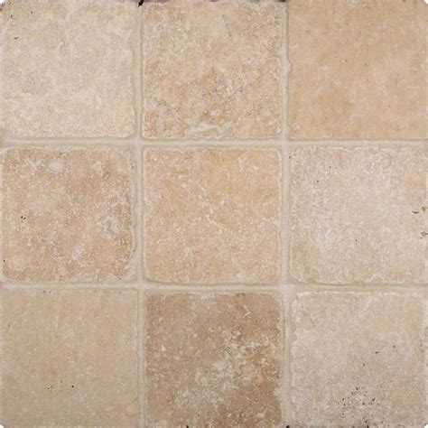 4x4 Tuscany Ivory Travertine Square Pattern Tumbled Finish