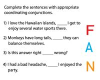 conjunction worksheets  grade   answers