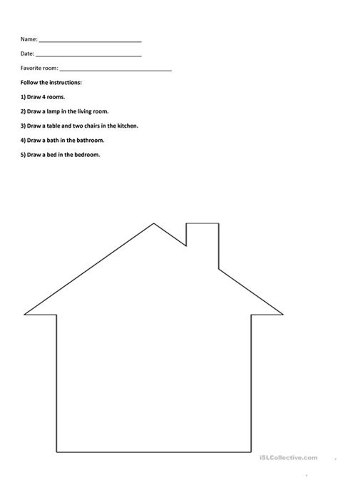 rooms   house worksheet  esl printable