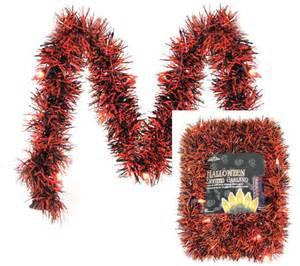 10 39 lighted garland led orange black tinsel qvc