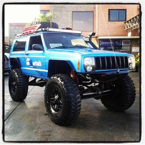 lifted jeep blue the immortals blue mopar lifted jeep cherokee xj with