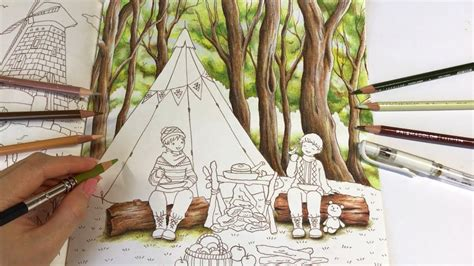 trees drawing lets camping part  romantic country