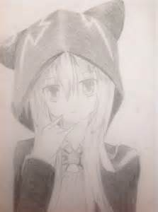 Anime Cat Girl with Hoodie Drawing
