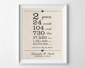 2nd wedding anniversary gift 2 years together cotton anniversary print 2nd anniversary