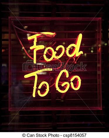 cuisine to go food to go neon sign royalty free stock image csp8154057