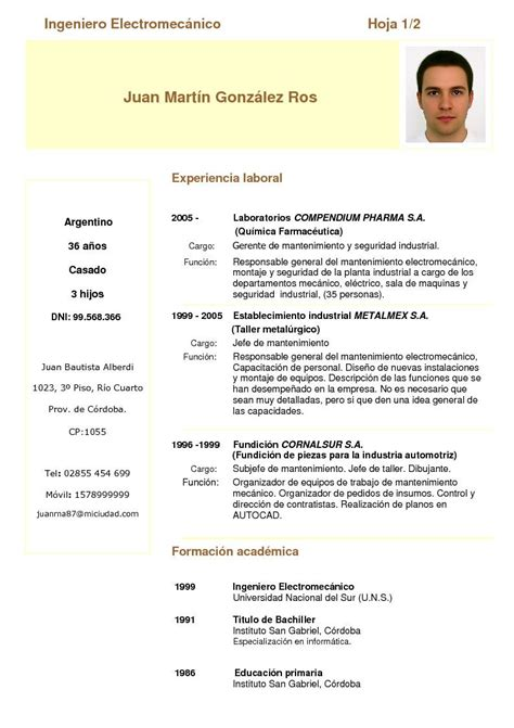 De Cv by Modelo De Curriculum Vitae Tecnico Mecanico Modelo De
