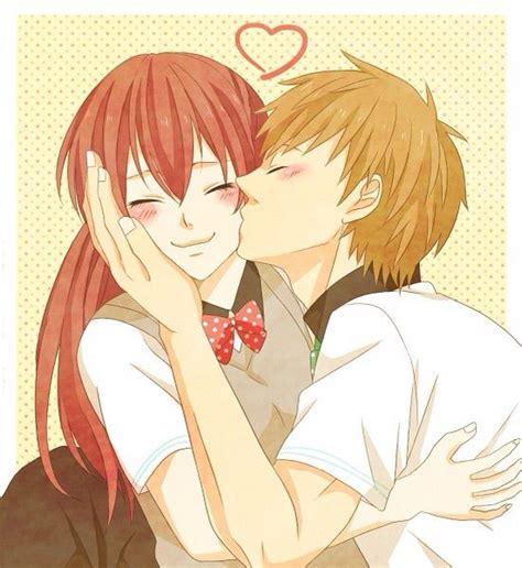 anime couple kiss on cheek anime kisses anime amino