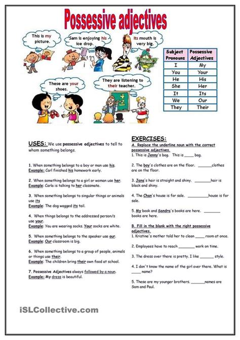 3 2 Possessive Adjectives Worksheet Answers  126 Free Esl Possessive Adjectives Worksheets126