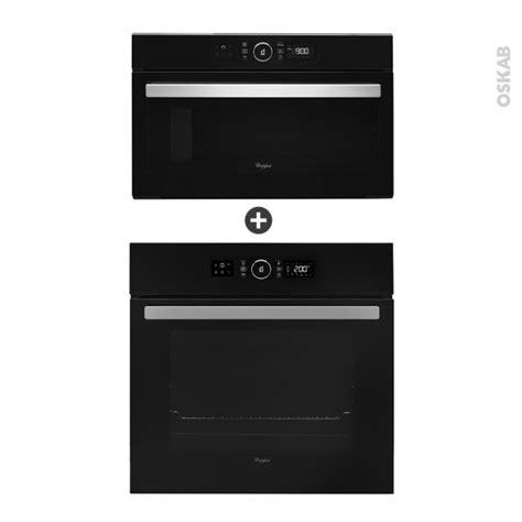 cuisine oskab pack éléctroménager design four pyrolyse akz6290nb micro ondes amw730nb noir whirlpool oskab