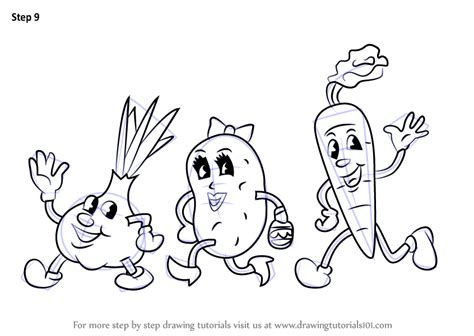 Step By Step How To Draw Cartoon Vegetables