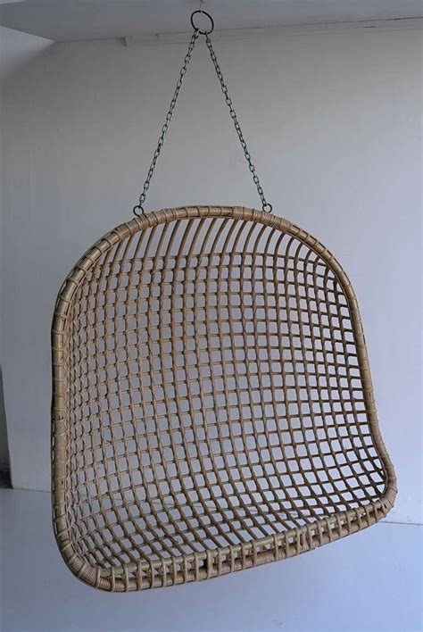 two seat rattan hanging egg chair at 1stdibs