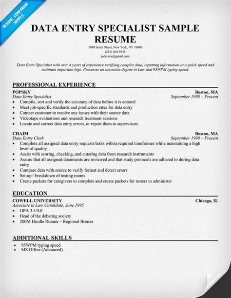 Data Entry Specialist Description For Resume by Sle Resume For Data Entry Sle Resume