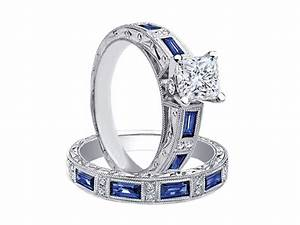 engagement ring princess diamond bridal set engagement With wedding ring sets with sapphire accents