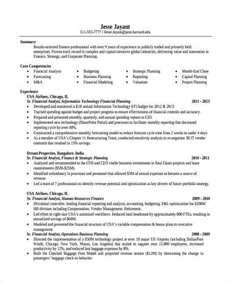 sample finance resume templates   ms word