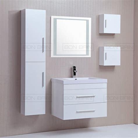 Mobilier salle de bain pas cher laqué blanc avec colonnes