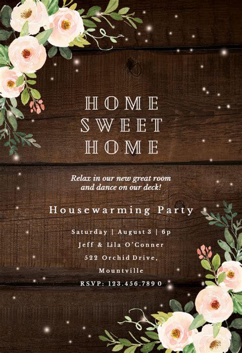sparkling rustic floral housewarming invitation template
