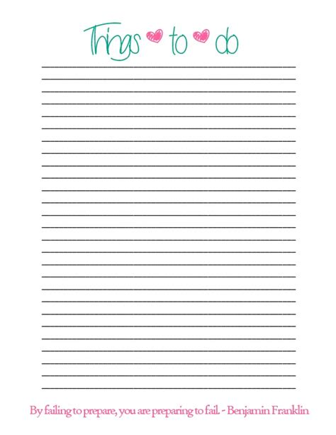 todo checklist simple things to do list printable
