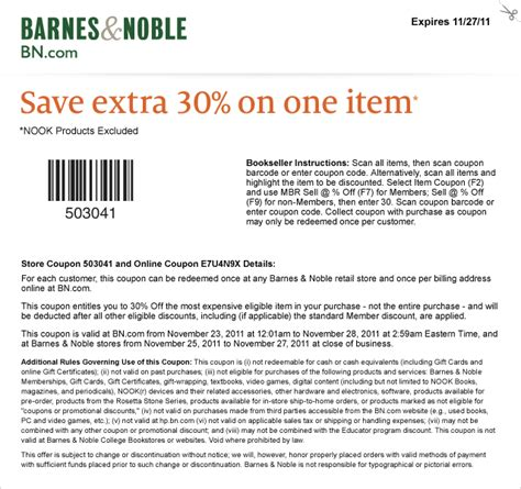 Promo Code Barnes And Noble by Printable Coupons Barnes And Noble Coupons