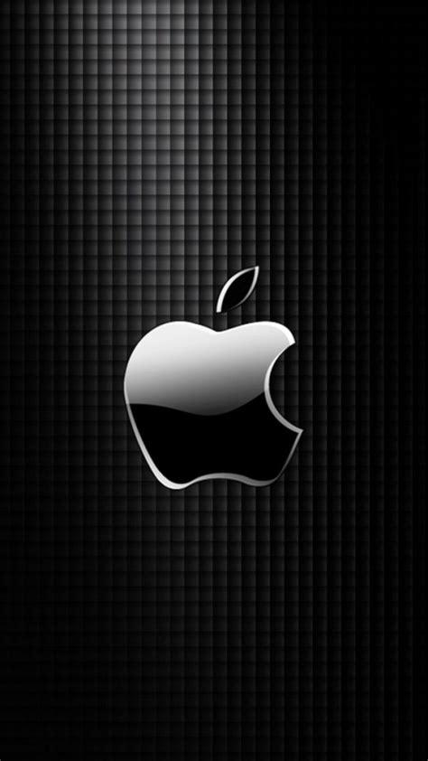 Apple Logo Iphone Black Wallpaper Hd by Sleek Apple Logo With Black Grid Background Wallpaper