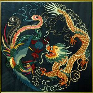Chinese Silk Robes | CHINESE DRAGON PHOENIX FRAMED SILK ...