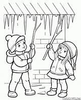 Coloring Seasons Spring Frozen Ice sketch template