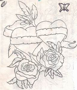 Hearts with Banner and Flowers by 5skin on DeviantArt