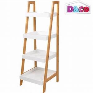 etagere bambou meuble de rangement incline 4 niveaux salle With meuble rangement salle de bain bambou