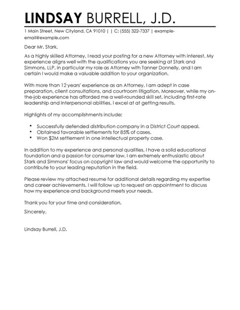 Sle Attorney Cover Letter by Free Attorney Cover Letter Exles Templates From Trust