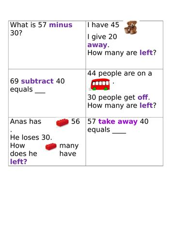 subtraction word problems year  teaching resources