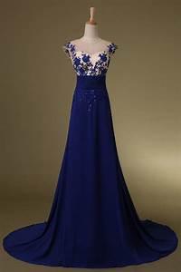 Size Chart 6 Inches 2020 Zuhair Murad Prom Dress Royal Blue Chiffon Gown Sheer