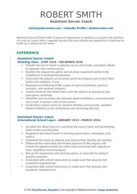 Soccer Resume Template by Assistant Soccer Coach Resume Sles Qwikresume