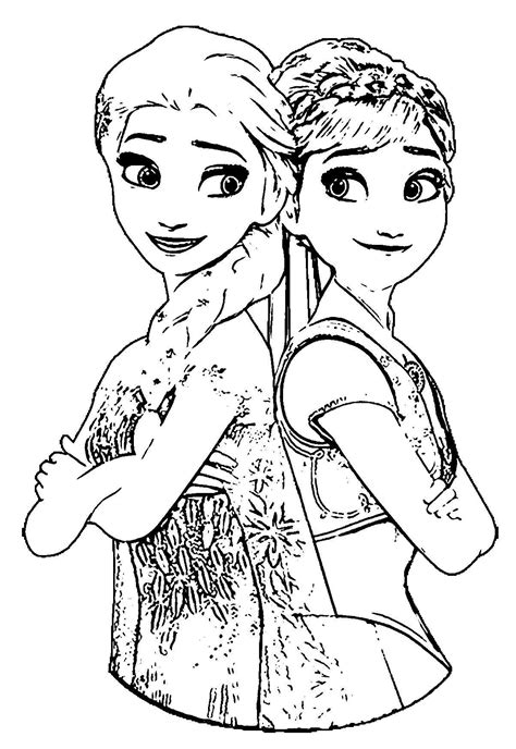 Anna And Elsa Frozen Fever Coloring Pages Gallery Free