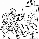 Easel Self Portrait William Coloring Hogarth Pages Thecolor Elf Paint sketch template