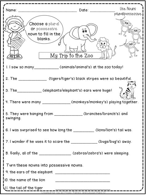 Practice possessive adjectives by playing this interactive esl pirate volley game. 5 Noun Lessons You Need to Teach in 1st Grade - Part 2 ...