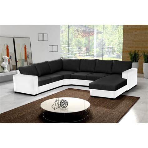canapé d angle cuir noir et blanc canapé d 39 angle 6 places oara en u noir et blanc tissu et