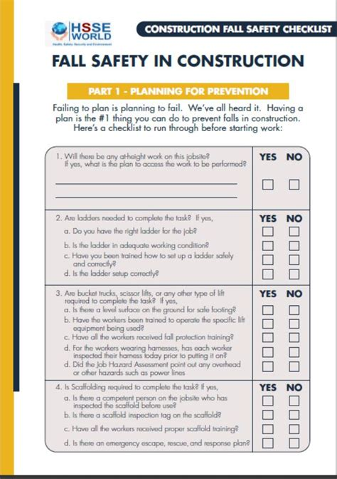 fall safety  construction checklist