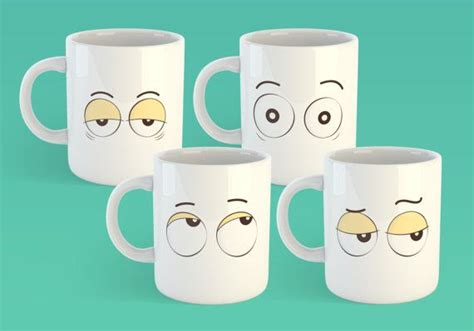 Coffee doesn't just have to perk up your morning, it can also perk up tired eyes! Set of 4 Coffee Mug Eyes Eye Roll Tired Eyes Surprised | Etsy | Mugs, Eye gift, Tired eyes