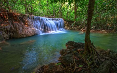 tropical waterfall hd wallpaper background image