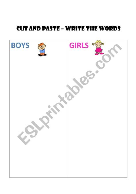 boys girls clothes cut  paste esl worksheet  katy