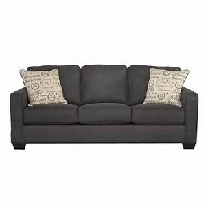 Ashley furniture alenya microfiber sofa in charcoal 1660138 for American home furniture couches