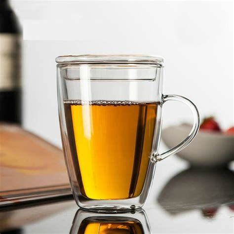 Pack of 2, 4, 6 or 8 glasses. New Double Wall Glass Tea Coffee Mug Cup Heat Resistant Mug with Handle Lid   eBay