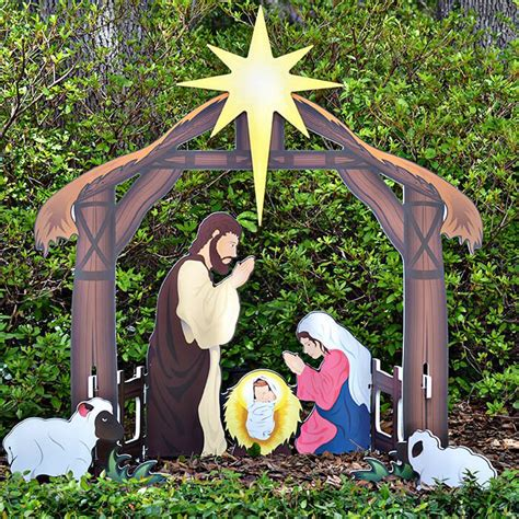 holy night printed outdoor nativity set