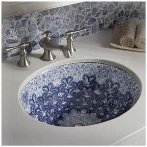 Color outside the lines powder room week sinks for Decorative undermount bathroom sinks