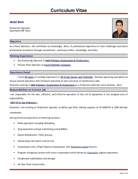 Curriculum Vitae For Technologist by Cv For Production Technician Abdul Basit