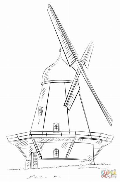 Windmill Dutch Coloring Drawing Draw Pages Step