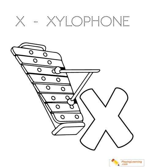 Coloring Xylophone by X Is For Xylophone Coloring Page Free X Is For Xylophone