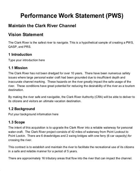 statement  work examples   ms word pages