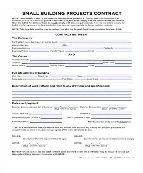 building contract template 7 work contract templates free sle exle format free premium templates